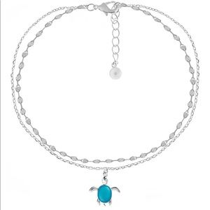 Essentials Double Row Turtle Anklet in Fine Silver